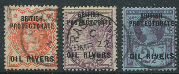 1892-4 Oil Rivers ½d, 1d and 2½d (SG1-2, 4)