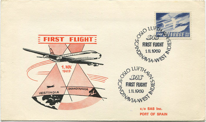 1969 (1 Nov) Norway - Trinidad first flight card per S.A.S.