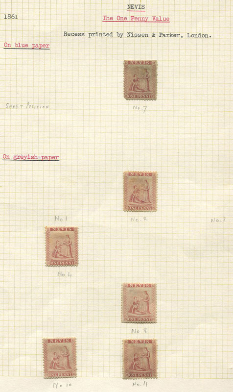 1862 Nevis 1d dull lake (SG1) selection of unused plated examples
