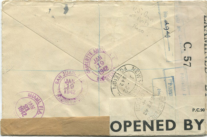 1942 British Virgin Islands censored cover to England