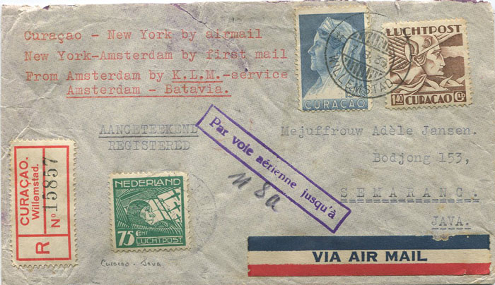 1936 Curacao registered airmail cover to Batavia with boxed