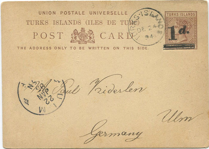 1892 Turks Islands 1d on 1½d postal stationery card