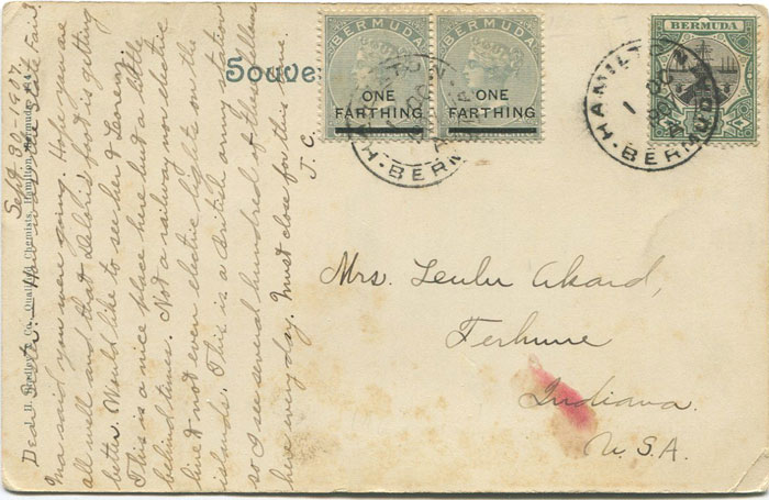 1901 Bermuda ¼d on 1/- (SG30) pair together with Dry Dock ½d on 1907 postcard