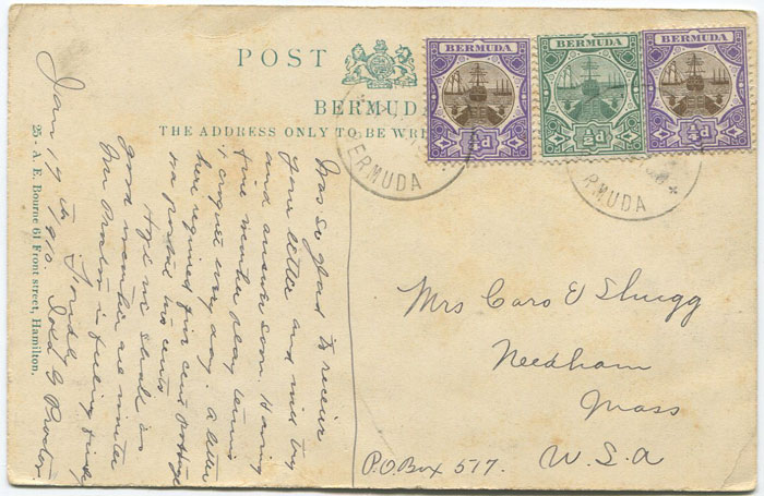 1910 Bermuda ¼d Dry Dock pair and ½d on postcard