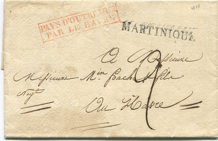 1828 (13 Aug) MARTINIQUE s/l h/s (44 x 5mm) on EL from St Pierre to France