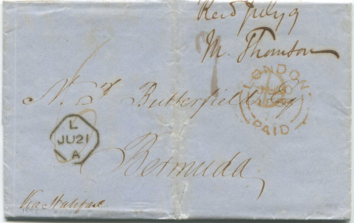 1856 (20 Jun) EL from London to N.J. Butterworth, Bermuda
