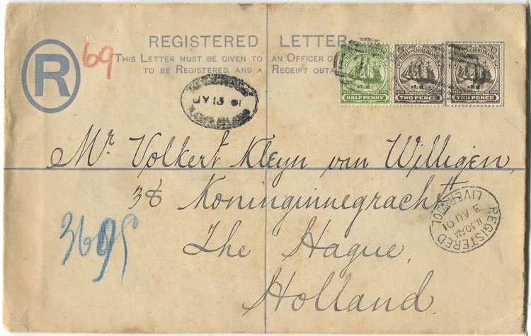 1901 Turks & Caicos Is formular postal stationery registered envelope