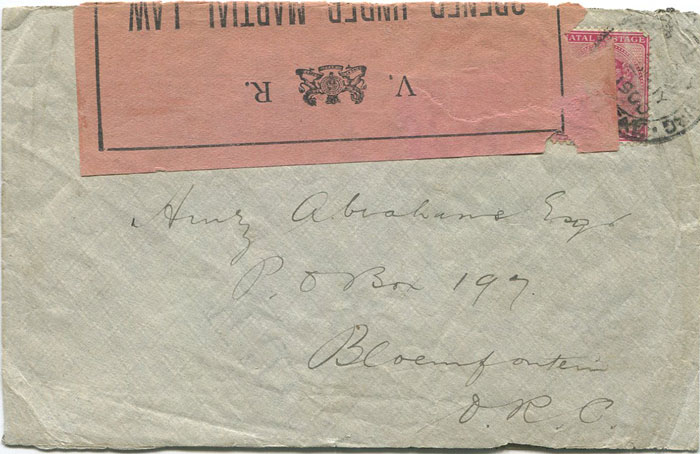 1900 Boer War censored cover from Natal to Bloemfontein