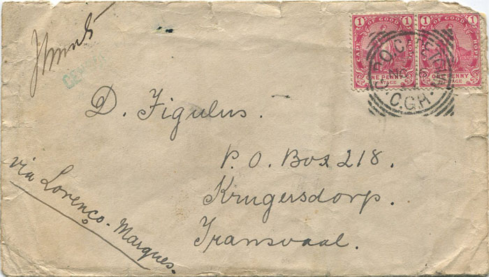 1899 COGH early Boer war censored cover to Transvaal sent via Lourenco Marques