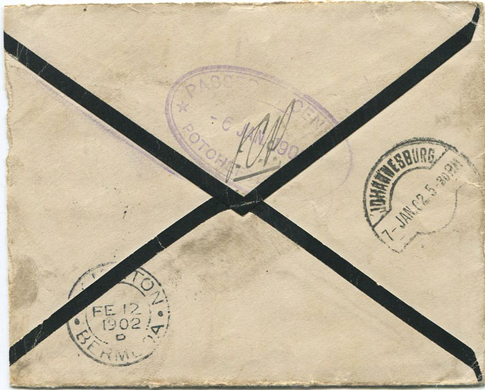 1902 Boer war cover to a prisoner of war on Morgans Island, Bermuda