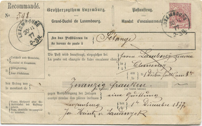 1877 Luxembourg 30c Postal Collection (C.O.D.) envelope