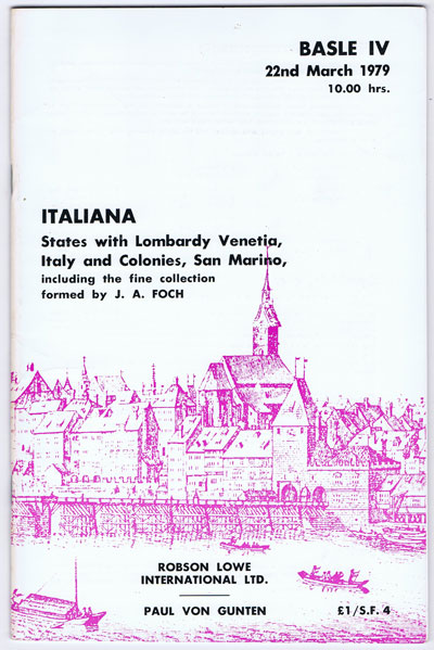 1979 (22 Mar) Italiana. States with Lombardy Venetia, Italy and Colonies, San Marino. - Including the collection fromed by J.A. Foch.