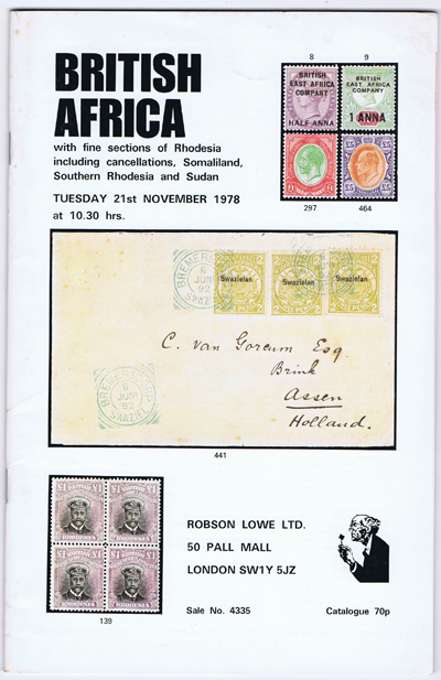 1978 (21 Nov) British Africa with fine Rhodesia including cancellations, Somaliland, Southern Rhodesia and Sudan.
