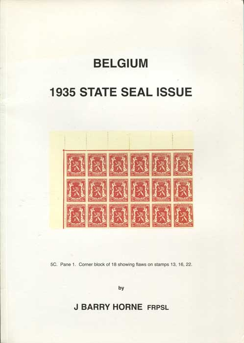 HORNE J. Barry Belgium 1935 State Seal Issue